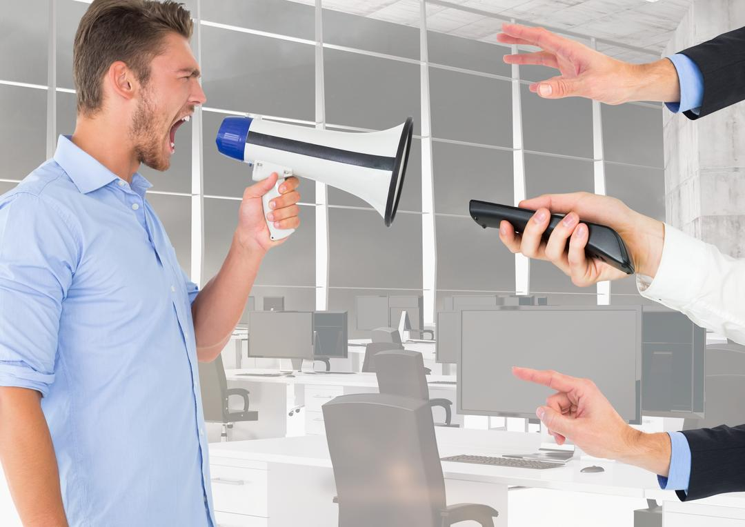 Digital composite image of male executive shouting on megaphone Free Stock Images from PikWizard