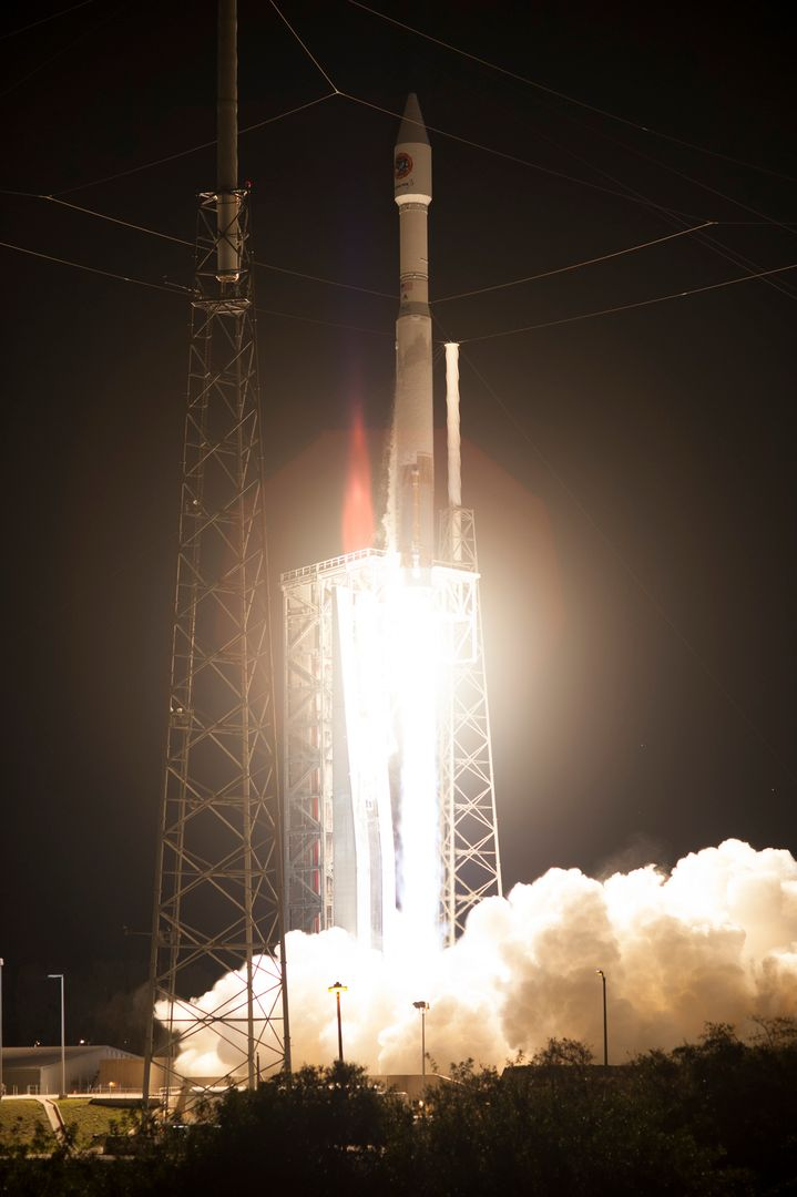Cape Canaveral Air Force Station carrying an Orbital ATK Cygnus resupply spacecraft on a commercial resupply services mission to the International Space Station. Liftoff was at 11:05 p.m. EDT. Cygnus will deliver the second generation of a portable onboard printer to demonstrate 3-D printing, an instrument for first space-based observations of the chemical composition of meteors entering Earth's atmosphere and an experiment to study how fires burn in microgravity.