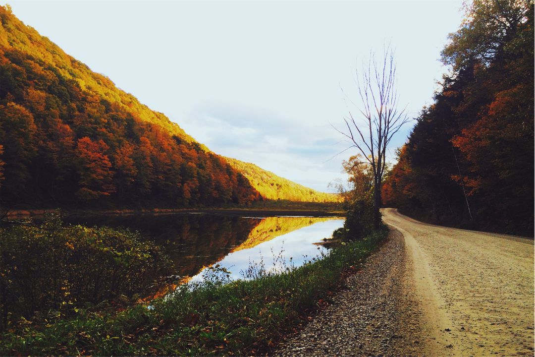 Dirt road lake