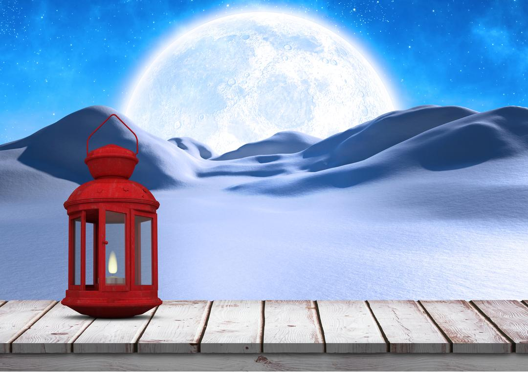 Digital composition of lantern on wooden plank with moon and snowcapped at night Free Stock Images from PikWizard