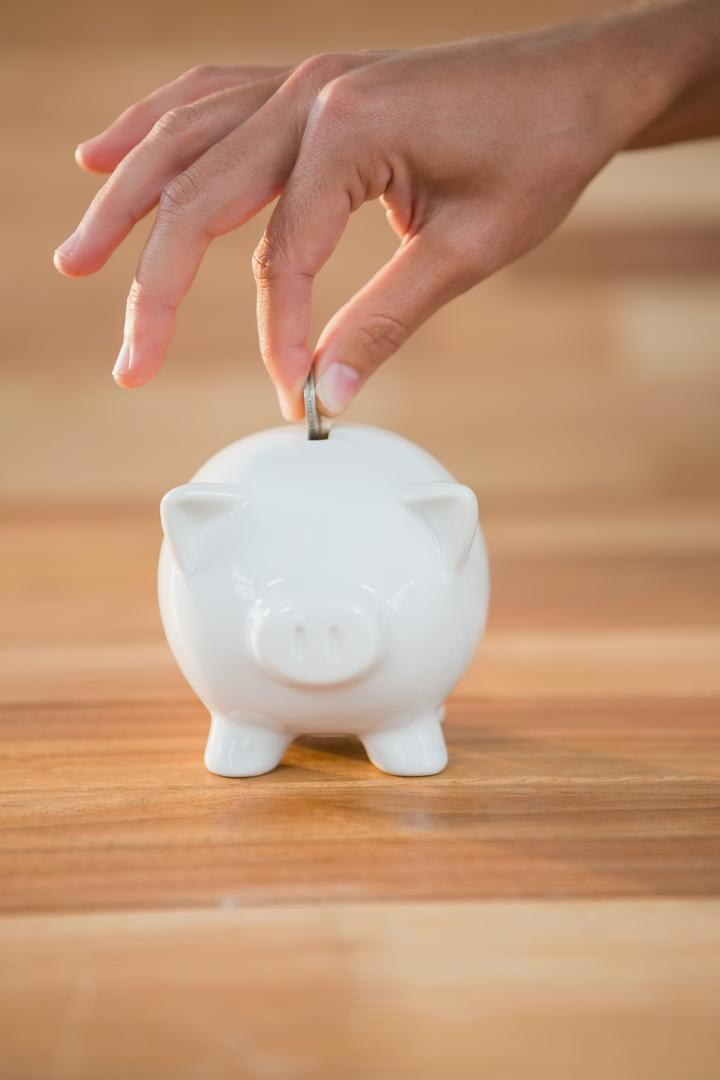 Close-up of hand inserting coin in piggy bank Free Stock Images from PikWizard