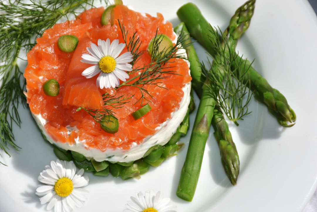 Image of a Green Asparagus and Salmon Menu