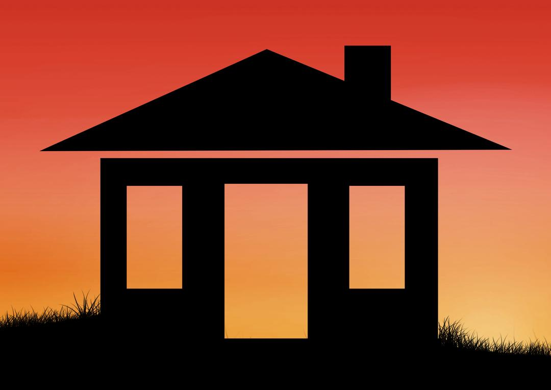Silhouette of house on grass against orange sunset background