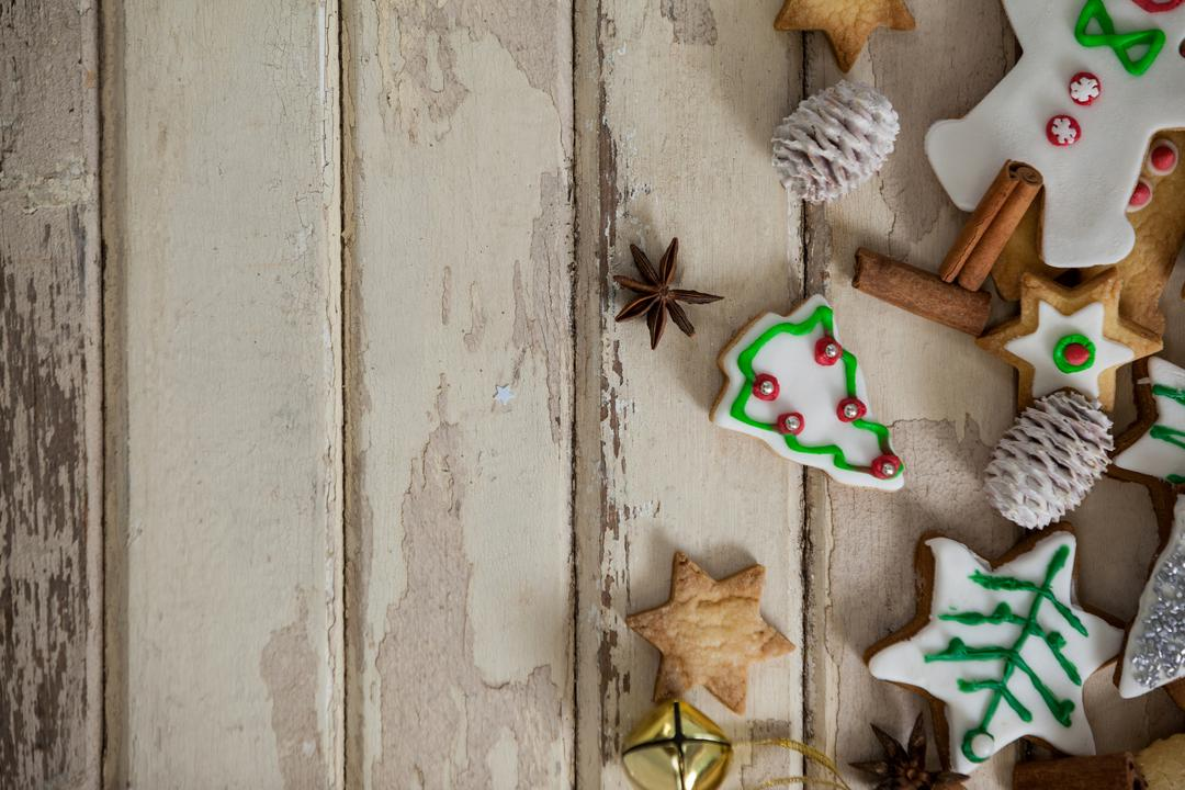 Christmas cookies with gingerbread on a plank