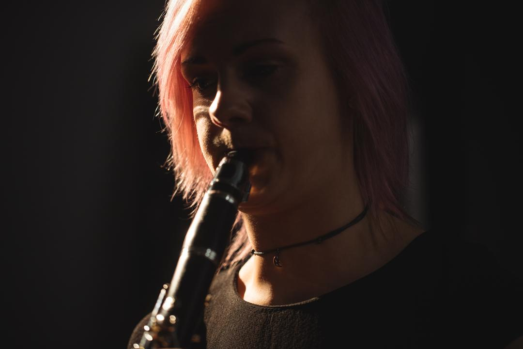 Close-up of woman playing a clarinet in music school Free Stock Images from PikWizard