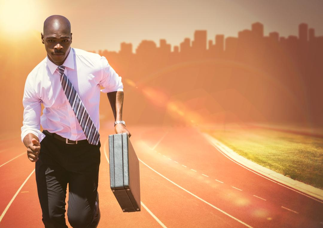 Digital composite of Business man running with briefcase on track against orange flare and skyline
