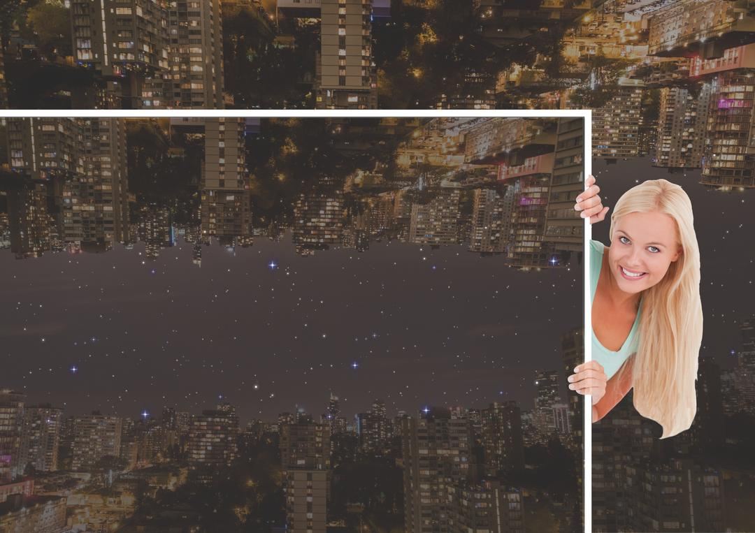 Digital composite of up side down city at night, girl with photo of the city Free Stock Images from PikWizard