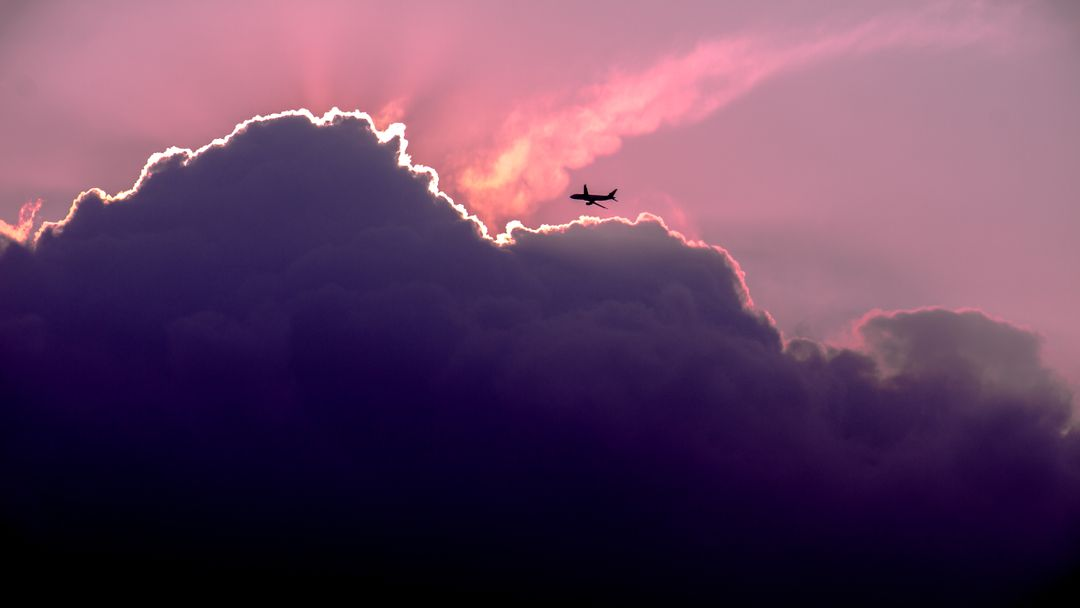 Clouds violet plane airplane