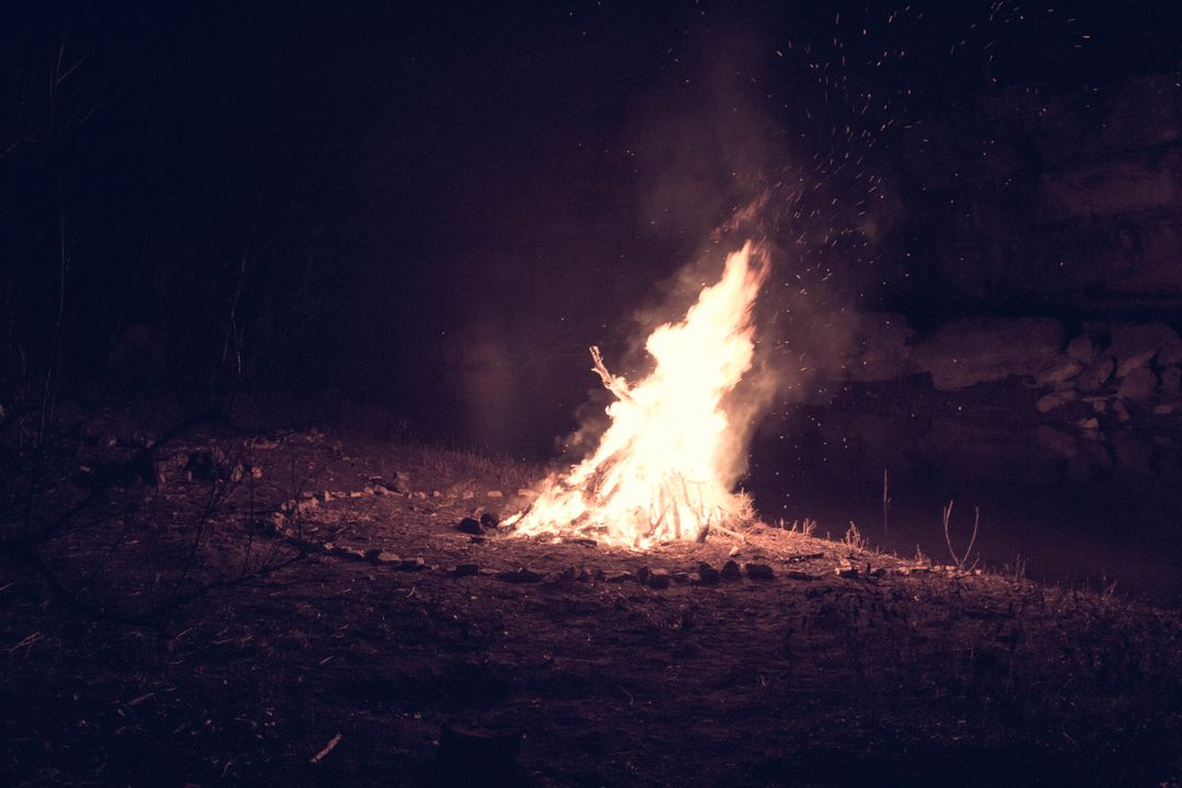 Camping fire fireplace