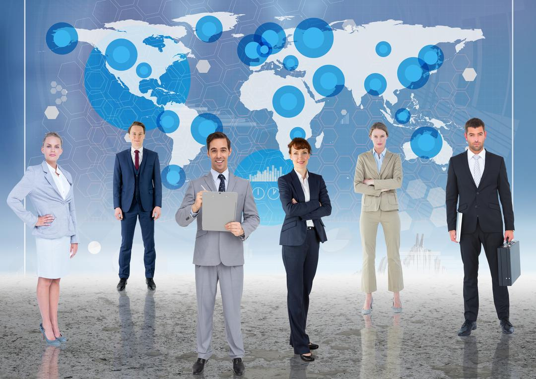 Digital composite image of businesspeople standing against world map background