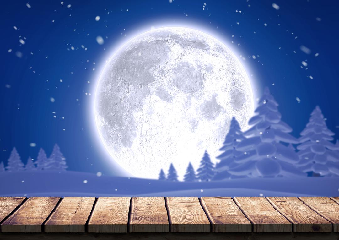 Digital composition of wooden plank against snow forest and full moon