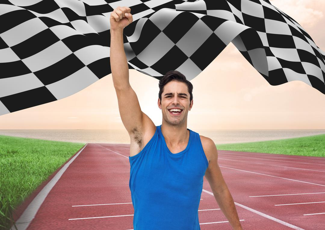 Digital composition of male athlete raising his hands at finishing point with checker flag