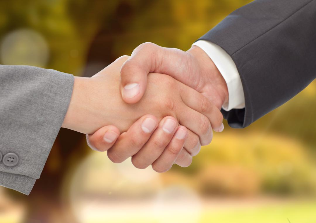 Digital composite image of business executives shaking hands against blurr background Free Stock Images from PikWizard