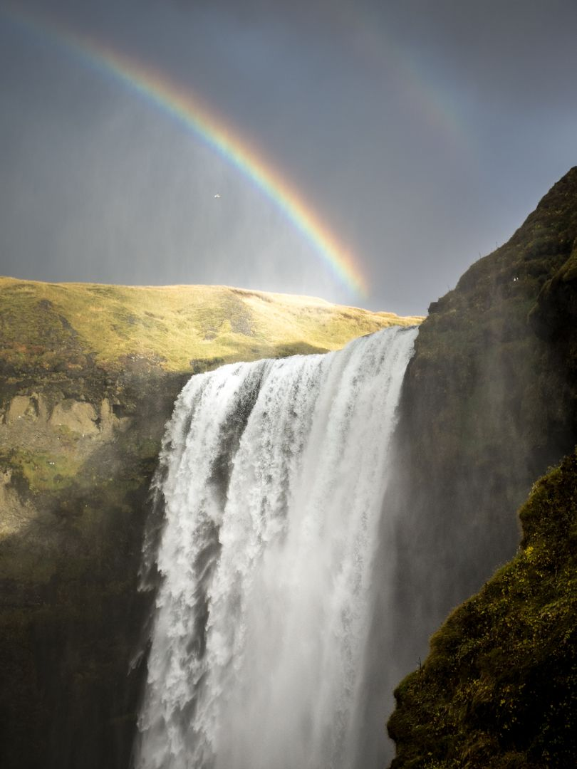 Waterfalls Scenery Under Rainbow