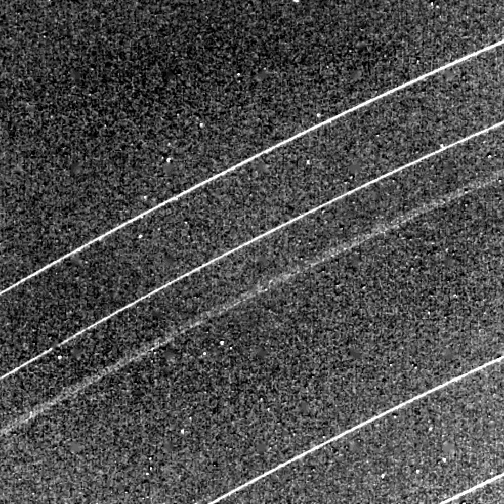 This NASA Voyager 2 image of the Uranian rings delta, gamma, eta, beta and alpha from top was taken Jan. 23, 1986.