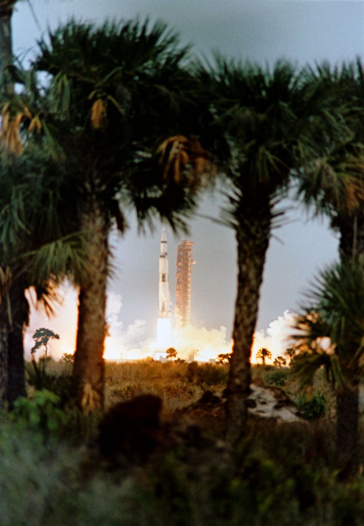 S69-25862 (3 March 1969) --- Framed by palm trees in the foreground, the Apollo 9 (Spacecraft 104/Lunar Module 3/ Saturn 504) space vehicle is launched from Pad A, Launch Complex 39, Kennedy Space Center (KSC) at 11 a.m. (EST), March 3, 1969. Aboard the spacecraft are astronauts James A. McDivitt, commander; David R. Scott, command module pilot; and Russell L. Schweickart, lunar module pilot. The Apollo 9 mission will evaluate spacecraft lunar module systems performance during manned Earth-orbital flight. Apollo 9 is the second manned Saturn V mission.