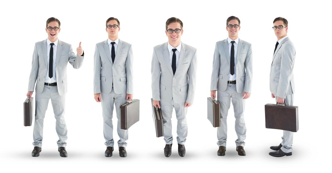 Multiple image of businessman carrying briefcase