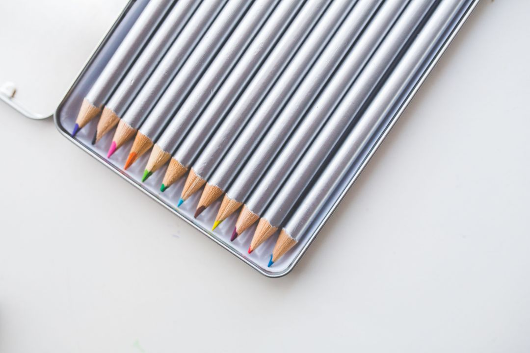 Colored Pencils in Box Free Photo