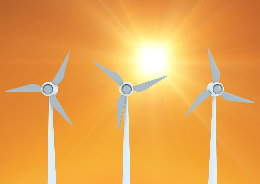 Digitally generated image of windmills against sunny background Free Stock Images from PikWizard