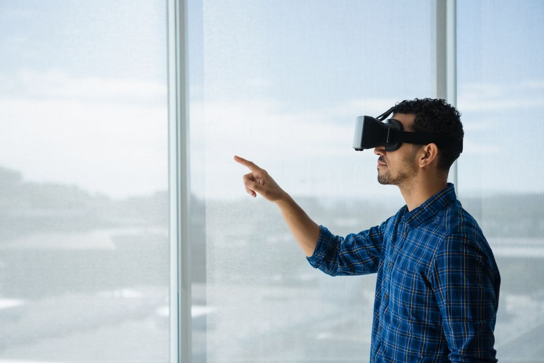 Image of a Man Wearing Glasses for Virtual Reality
