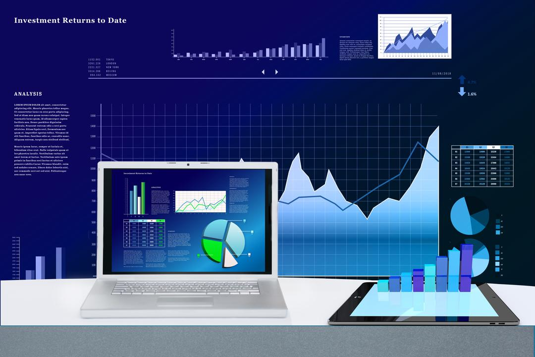 shades of blue infographic of stock and statistics with a laptop in the font