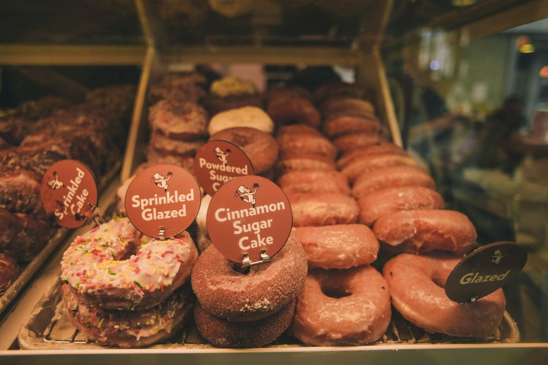 Food image of doughnuts in a window