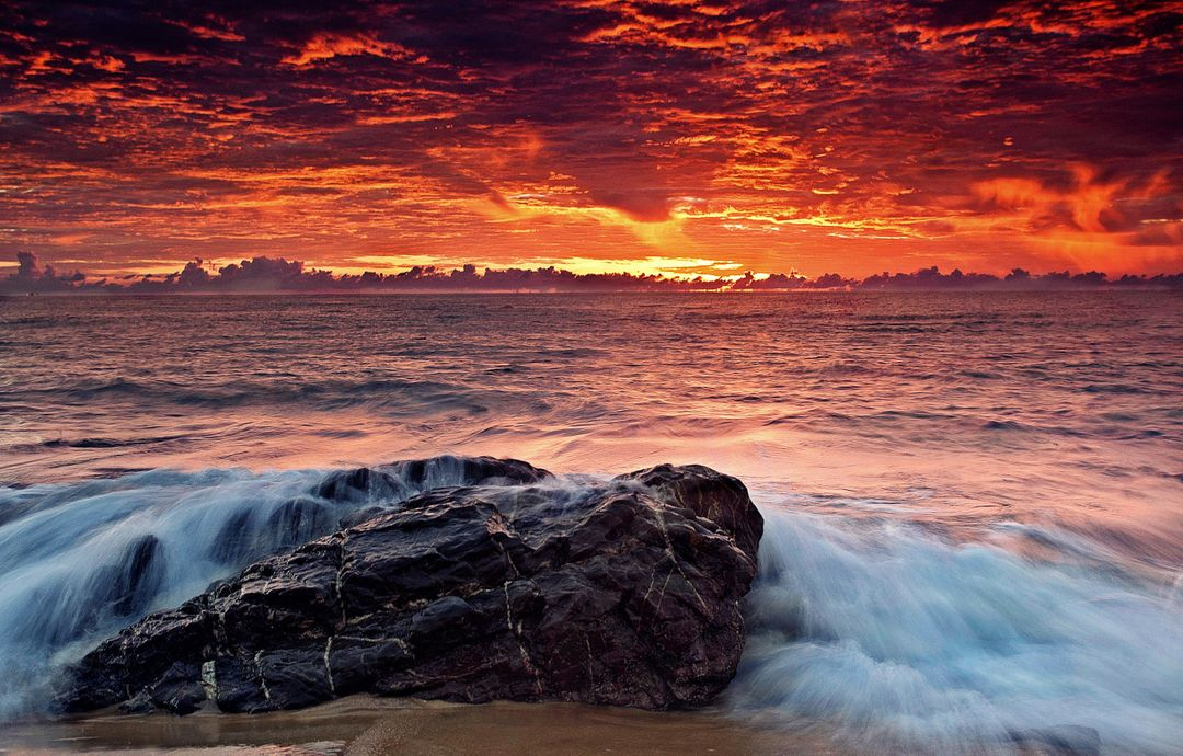 Sea water wave sunrise
