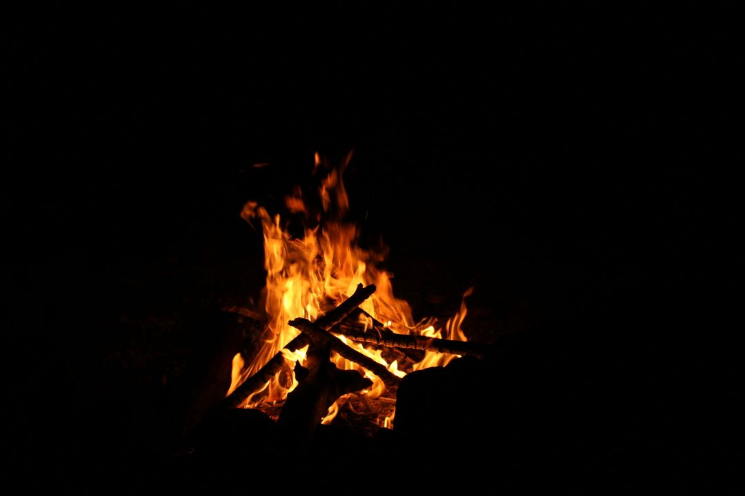 Firewood fire night flames