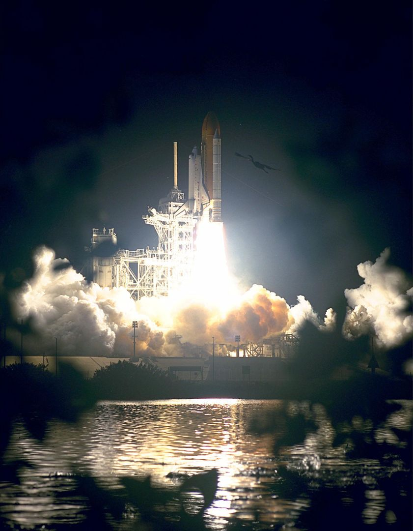 "KENNEDY SPACE CENTER, Fla. --   A bird (at upper right) soars near the Space Shuttle Endeavour as the vehicle lifts off from Launch Pad 39A on the first U.S. mission dedicated to the assembly of the International Space Station. Liftoff on Dec. 4 was at 3:35:34 a.m. EST. During the nearly 12-day mission, the six-member crew will mate in space the first two elements of the International Space Station the already-orbiting Zarya control module with the Unity connecting module carried by Endeavour. Crew members are Commander Robert D. Cabana, Pilot Frederick W. ""Rick"" Sturckow, and Mission Specialists Nancy J. Currie, Jerry L. Ross, James H. Newman and Sergei Konstantinovich Krikalev, a Russian cosmonaut. This was the second launch attempt for STS-88. The first one on Dec. 3 was scrubbed when launch controllers, following an assessment of a suspect hydraulic system, were unable to resume the countdown clock in time to launch within the remaining launch window"