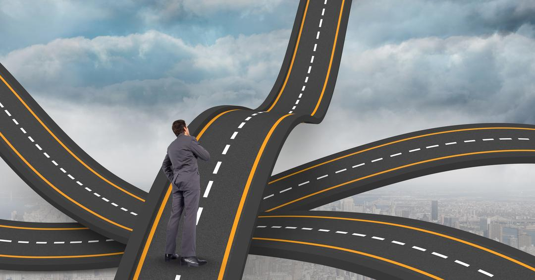 Digital composite of Digital composite image of businessman standing on wavy road