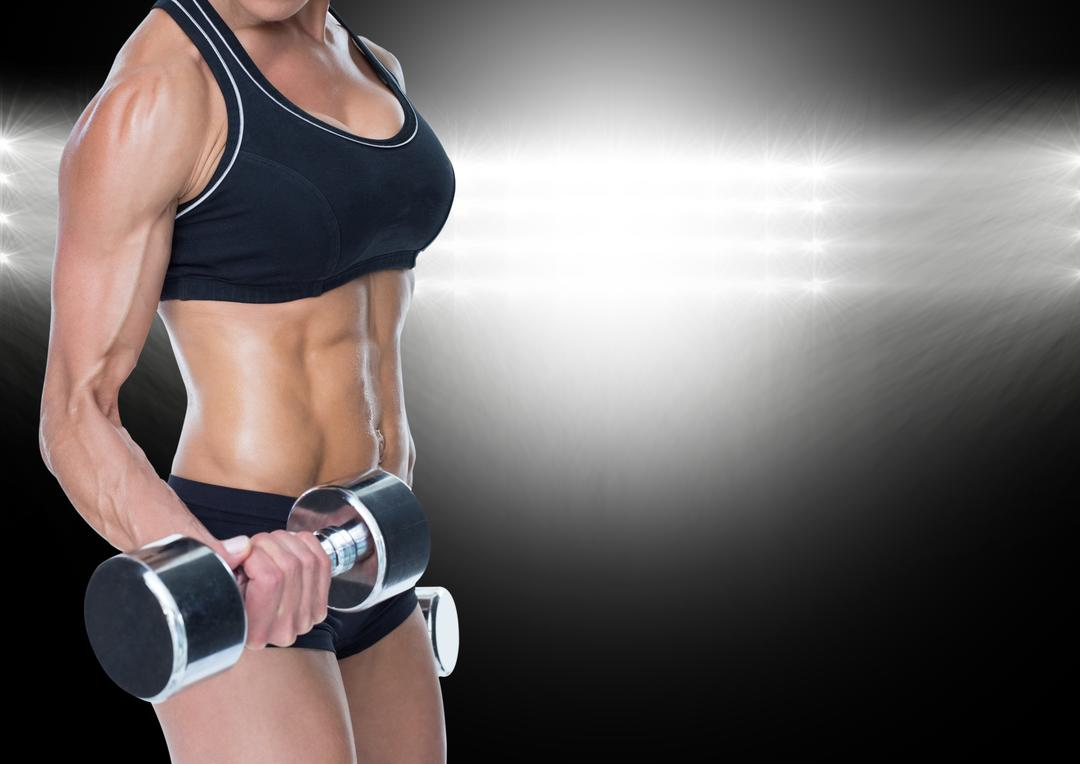 Digital composition of a fit woman in sports bra exercising with dumbbells