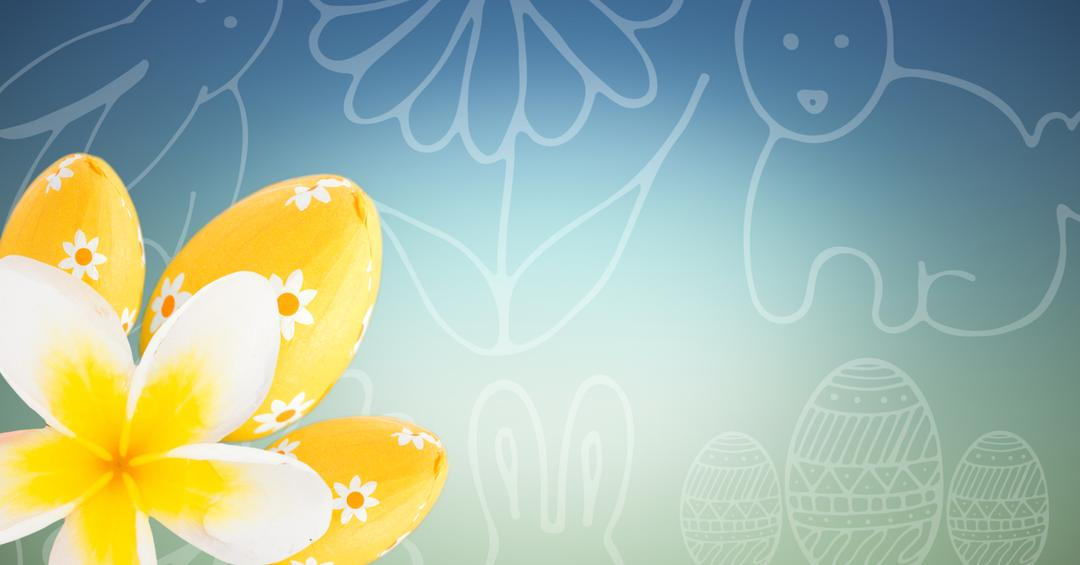 Digital composite of Yellow flower and eggs against blue green easter pattern Free Stock Images from PikWizard
