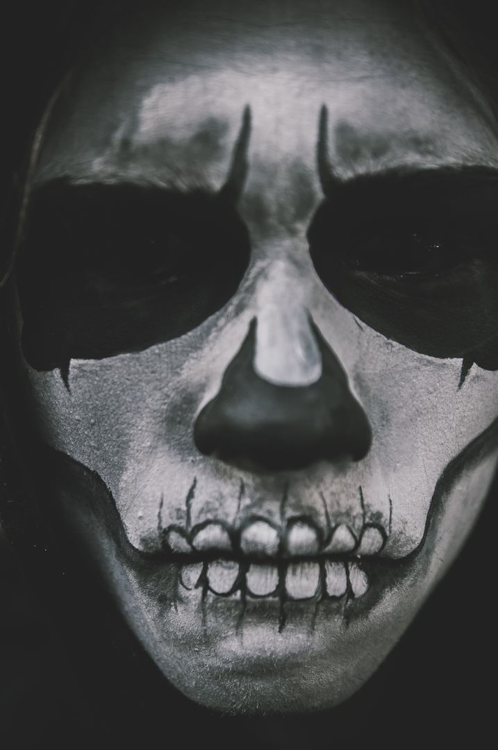 Man Scary Costume Skull Makeup Free Photo