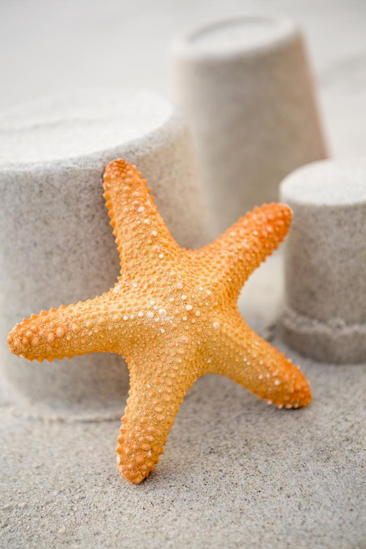 Close-up of three sand castles and starfish on tropical sand beach