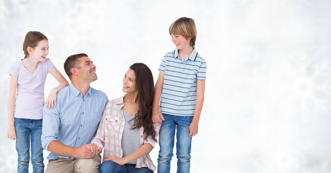 Digital composite of Happy family looking at each other against bright background