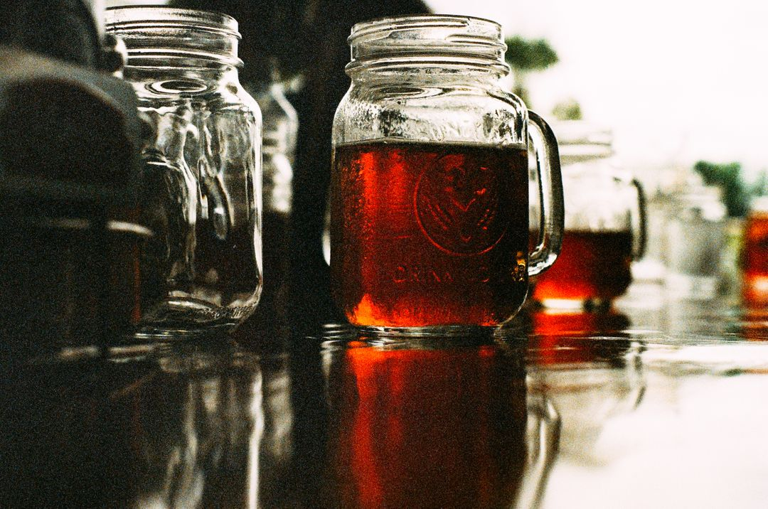 Mason jar beer brew