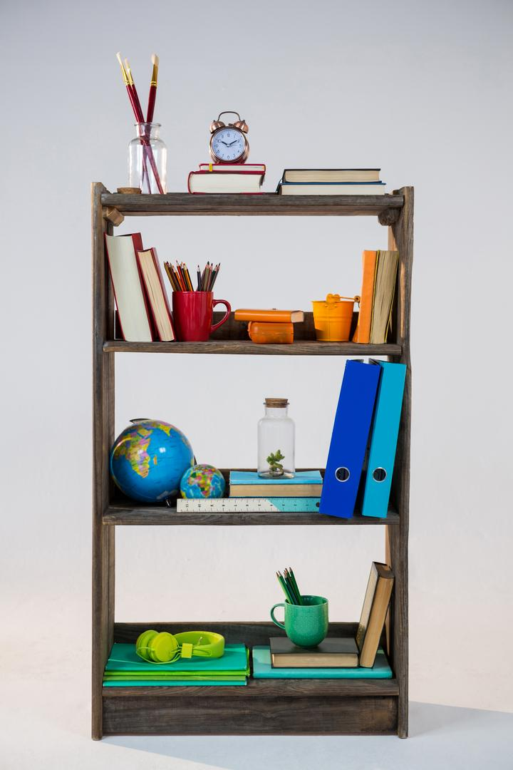 Various objects in shelf