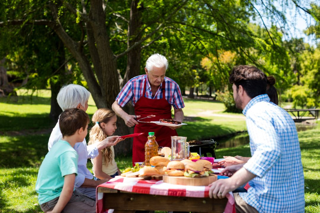 Senior man serving barbeque to family in park on a sunny day Free Stock Images from PikWizard