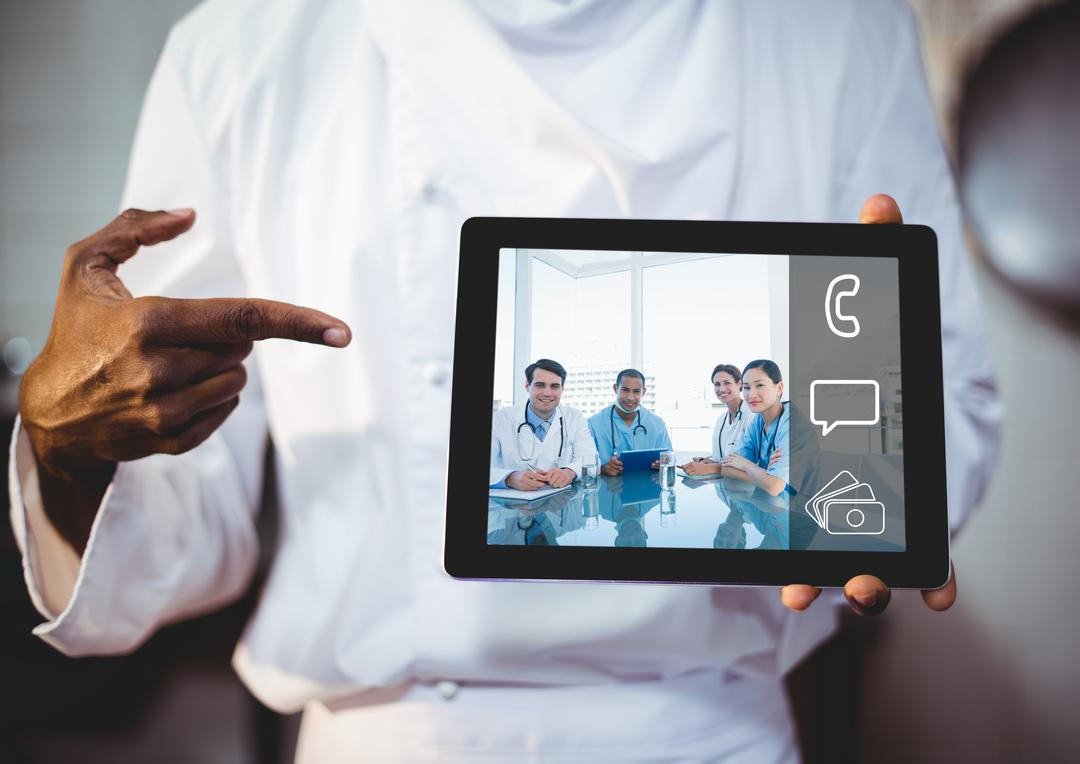 Close-up of doctor showing video chat on digital tablet