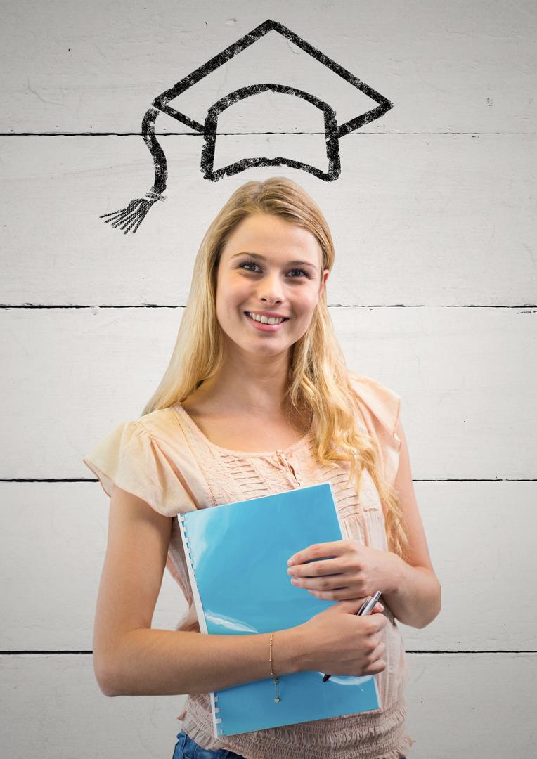Digital composition of woman with graduation cap  holding file against wall Free Stock Images from PikWizard