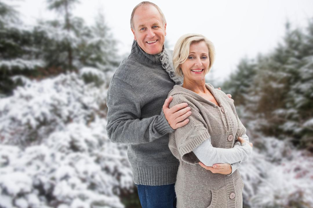 Digital composite of Romantic senior couple wearing sweaters during winter Free Stock Images from PikWizard